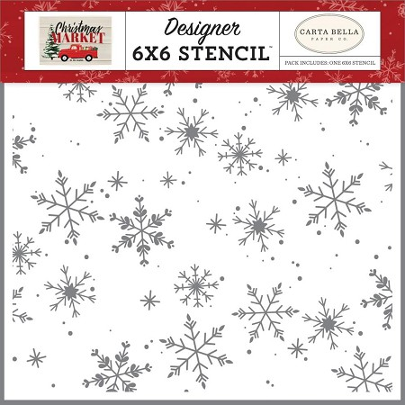 "Carta Bella - Christmas Market Collection - Falling Snowflakes 6""x6"" Stencil"