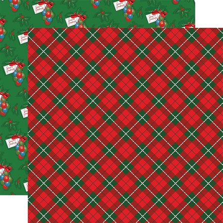 "Carta Bella - Dear Santa Collection - Jolly Tartan 12""x12"" Cardstock"