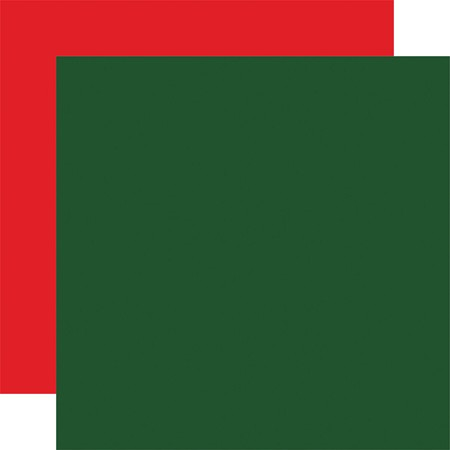 "Carta Bella - Dear Santa Collection - Dark Green/Red 12""x12"" Cardstock"