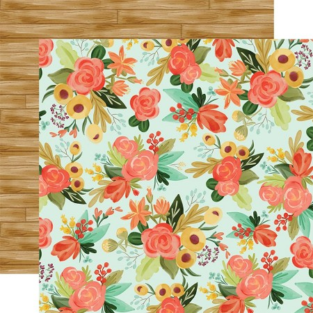 "Carta Bella - Fall Market Collection - Autumn Floral 12""x12"" Cardstock"