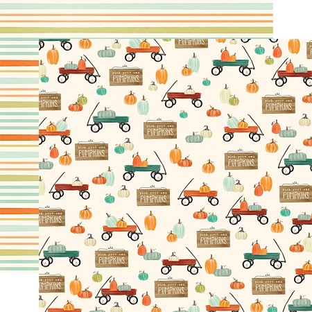 "Carta Bella - Fall Market Collection - Wagon Time 12""x12"" Cardstock"