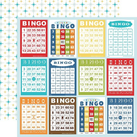 "Carta Bella - Family Night Collection - Bingo Cards 12""x12"" Cardstock"