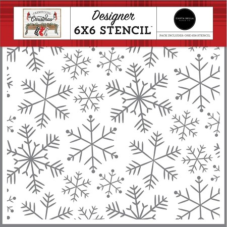 "Carta Bella - Farmhouse Christmas Collection - Merry Snowflakes 6""x6"" Stencil"