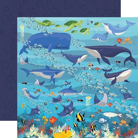 "Carta Bella - Fish Are Friends Collection - Underwater Scene 12""x12"" Cardstock"