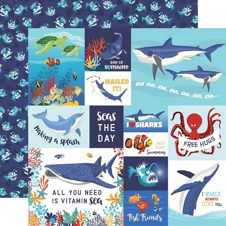 "Carta Bella - Fish Are Friends Collection - Multi Journaling Cards 12""x12"" Cardstock"