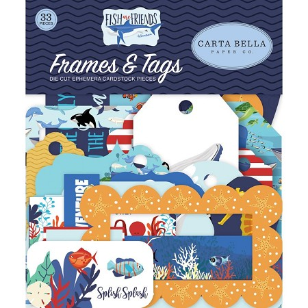 Carta Bella - Fish Are Friends Collection - Die Cut Tags & Frames