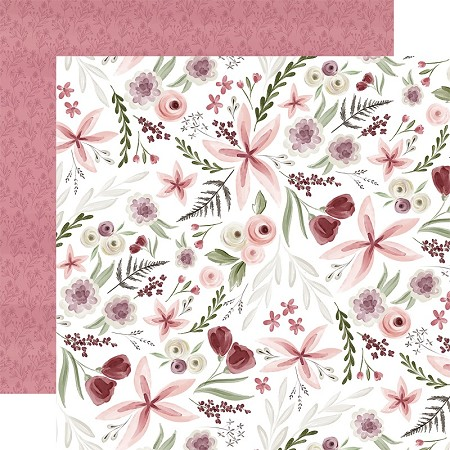 "Carta Bella - Flora No.3 Collection - Elegant Large Floral 12""x12"" Cardstock"
