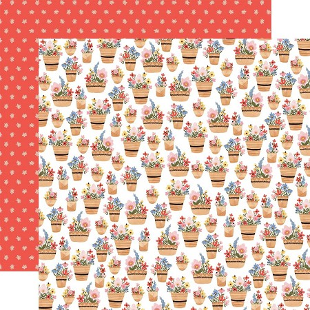 "Carta Bella - Oh Happy Day Collection - Basket Of Flowers 12""x12"" Cardstock"