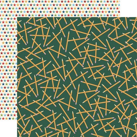 "Carta Bella - School Days Collection - Scattered Pencils 12""x12"" Cardstock"