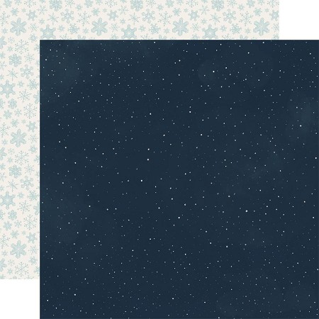 "Carta Bella - Snow Much Fun Collection - Snowy Night 12""x12"" Cardstock"