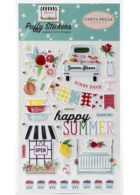 Carta Bella - Summer Market Collection - Puffy Stickers