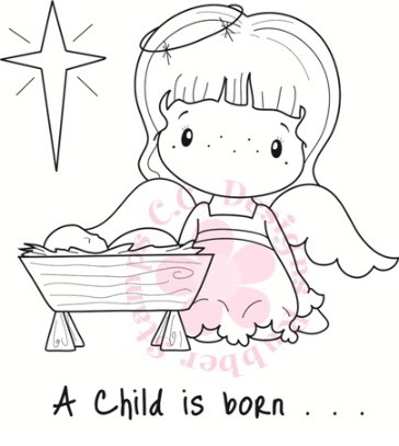 C.C. Designs - Cling Mounted Rubber Stamp - Angel & Baby Jesus
