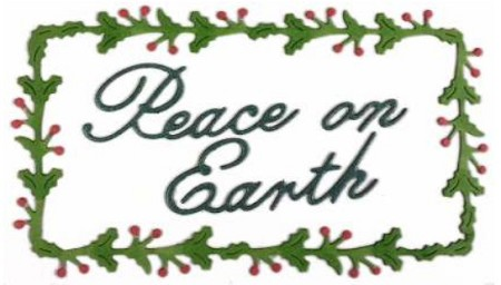 Cheery Lynn Designs - Die - Peace on Earth Holly Rectangle
