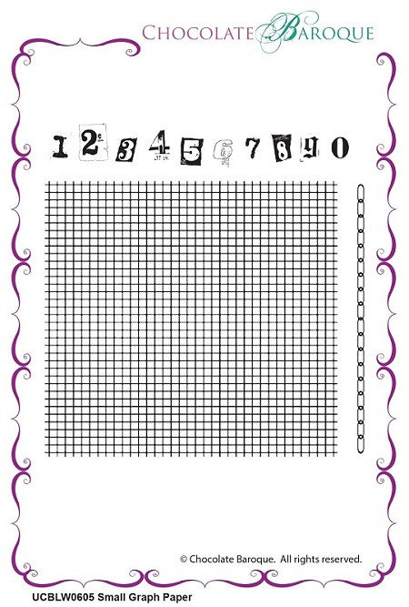 "Chocolate Baroque - Small Graph Paper Unmounted Stamp Sheet (3.75""x4"")"