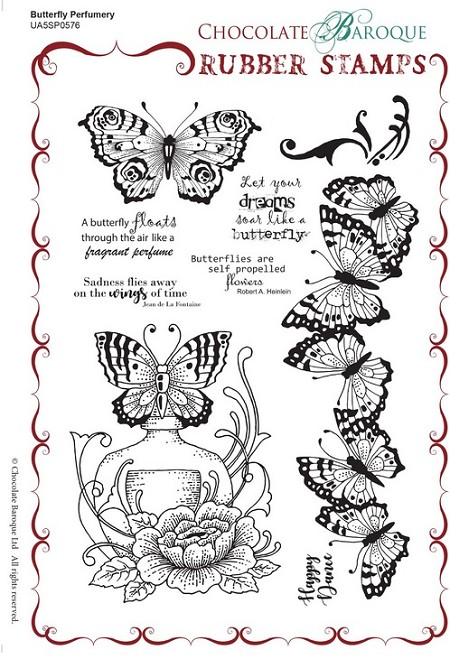 "Chocolate Baroque - Unmounted Stamp Sheet (5.5""x8"") - Butterfly Perfumery"