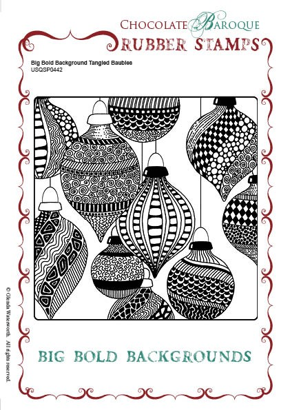 "Chocolate Baroque - Big Bold Background Tangled Baubles Unmounted Stamp (5.75""x5.75"")"
