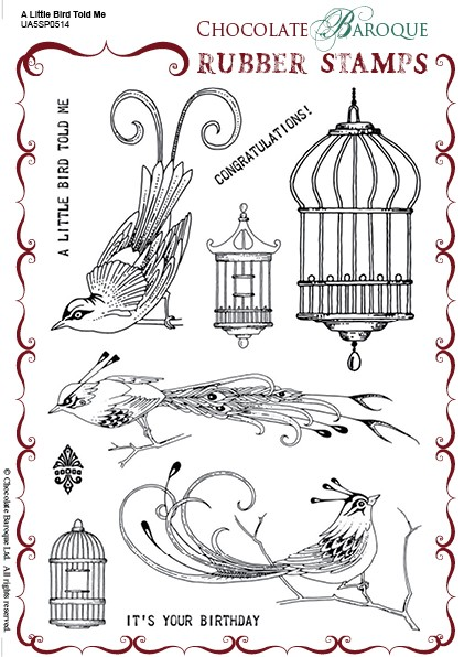 "Chocolate Baroque - A Little Bird Told Me Unmounted Stamp Sheet (5.5""x8"")"