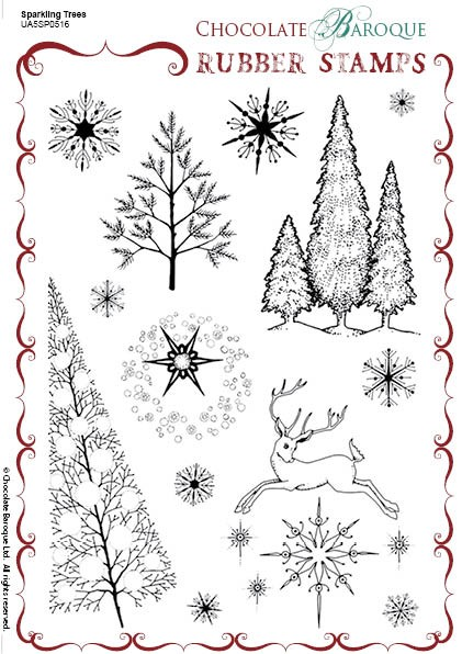 "Chocolate Baroque - Sparkling Trees Unmounted Stamp Sheet (5.5""x8"") -"