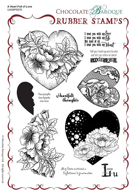 Chocolate Baroque - A Heart Full of Love Unmounted Stamp Sheet (5 5