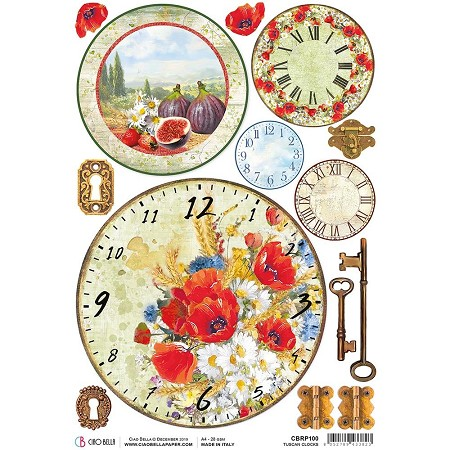 Ciao Bella - Under the Tuscan Sun Collection - Tuscan Clocks Piuma Rice Paper
