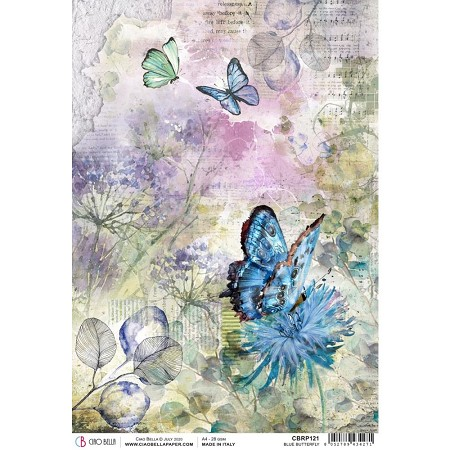 Ciao Bella - Microcosmos Collection - Blue Butterfly Piuma Rice Paper