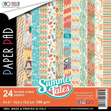 "Ciao Bella - Summer Tales Collection - 6""x6"" Patterns Paper Pad"