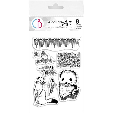 PRE-ORDER - Ciao Bella - Ermine & Goldfinch Clear Stamp Set