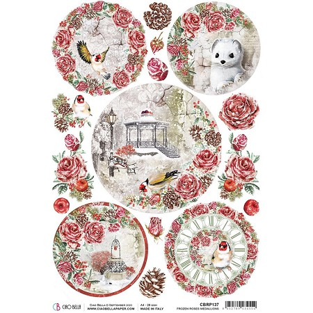 Ciao Bella - Frozen Roses Collection - Medallions Piuma Rice Paper
