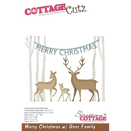Cottage Cutz - Die - Merry Christmas w/Deer Family
