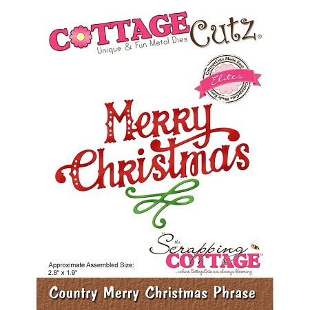 Cottage Cutz - Die - Country Merry Christmas Phrase  (Elite)