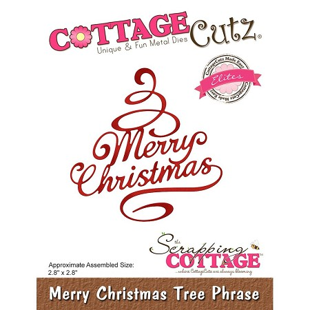 Cottage Cutz - Die - Merry Christmas Tree Phrase (Elite)