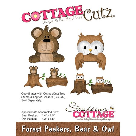 Cottage Cutz - Die - Forest Peekers, Bear & Owl (logs sold separately)