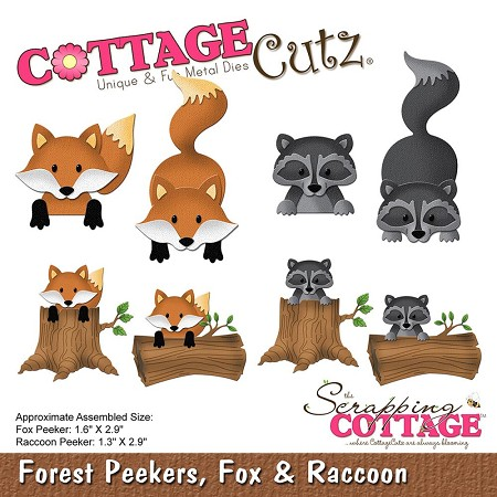 Cottage Cutz - Die - Forest Peekers, Fox & Raccoon (logs sold separately)