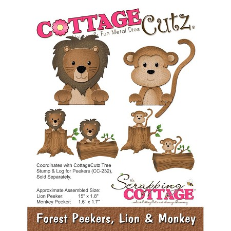 Cottage Cutz - Die - Forest Peekers, Lion & Monkey (logs sold separately)