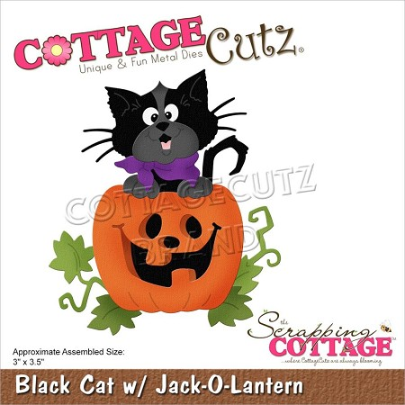 Cottage Cutz - Die - Black Cat w/Jack-O-Lantern