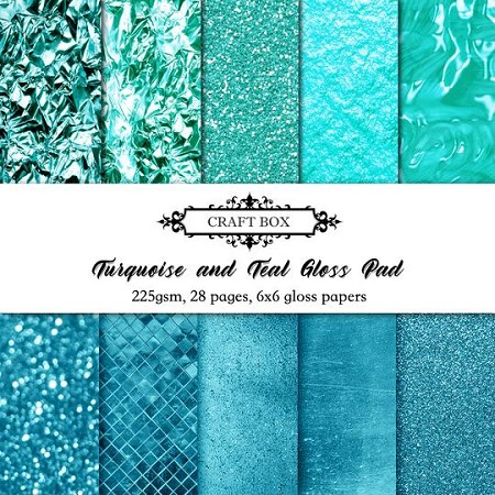 "Craft Box - Turquoise & Teal Gloss - 6""x6"" Paper Pad (Come Home Companion)"