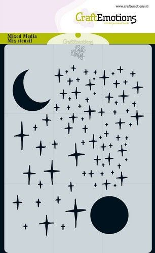 Craft Emotions - A6 Stencil - Starry Sky & Moon