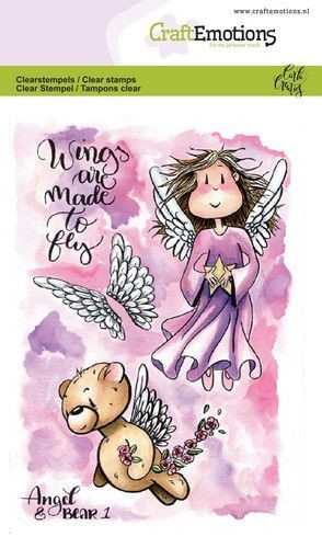 Craft Emotions - clear stamp - Angel & Bear 1