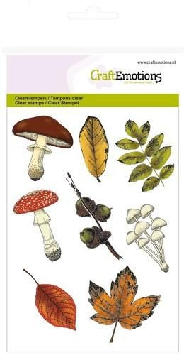 Craft Emotions - clear stamp - Mushrooms & Leaves