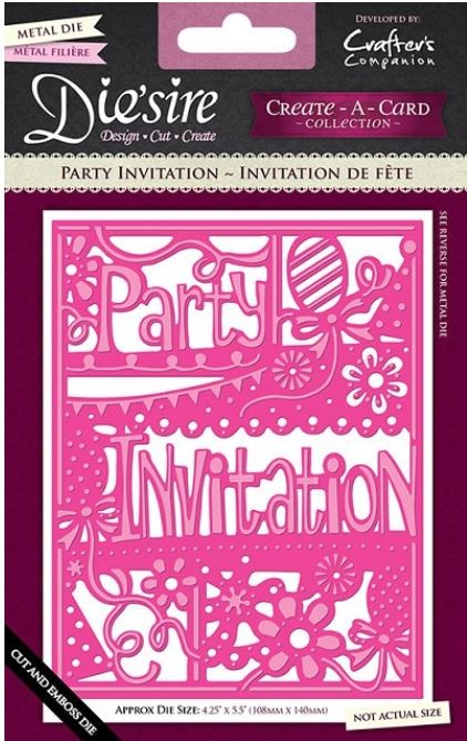 Crafter's Companion - Die'sire Create-A-Card Dies - Party Invitation
