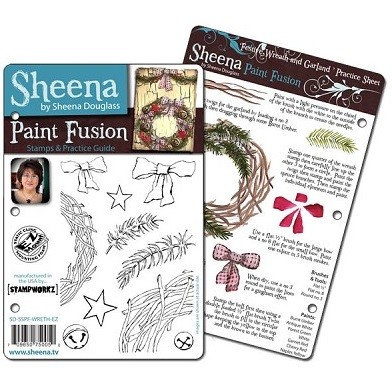 Paint Fusion Christmas EZMount Stamp Set by Sheena Douglas - Wreath