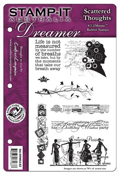 Stamp-It - EZ Mount Rubber Stamp - Australia Dreamer Scattered Thoughts