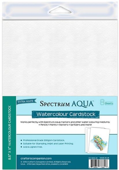 Crafter's Companion - Spectrum Aqua - Watercolor Cardstock (8 sheets)