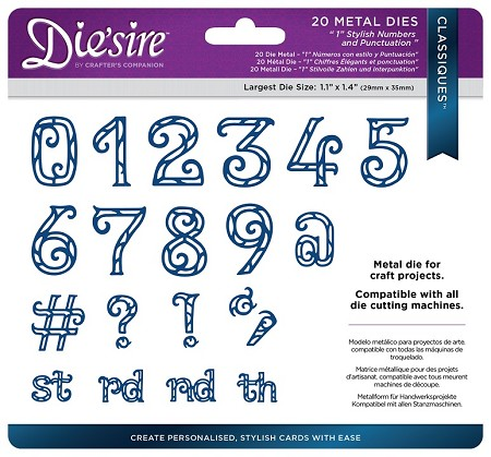 "Crafter's Companion - Die'Sire Create-a-Card die - 1.25"" Stylish Numbers and Punctuation"