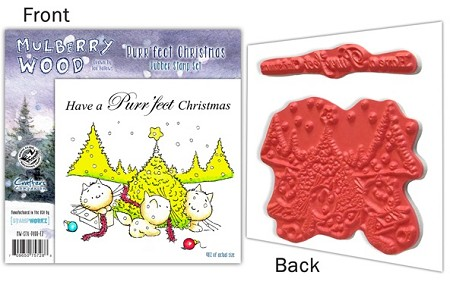 Mulberry Wood - EZ Mount Rubber Stamp Set - Purr'fect Christmas