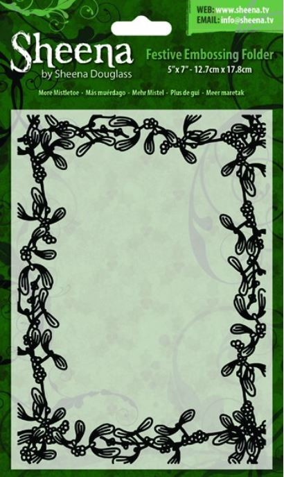 Crafter's Companion - Sheena Festive 5x7 Embossing Folder - More Mistletoe