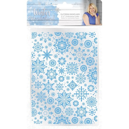 Crafter's Companion - Winter Wonderland Collection by Sara Davies - 5x7 Fluttering Snowflakes Embossing Folder