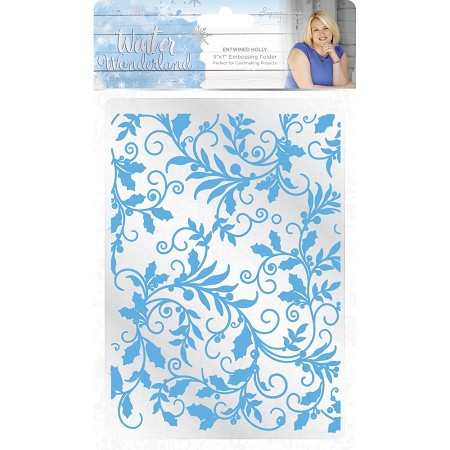 Crafter's Companion - Winter Wonderland Collection by Sara Davies - 5x7 Entwined Holly Embossing Folder