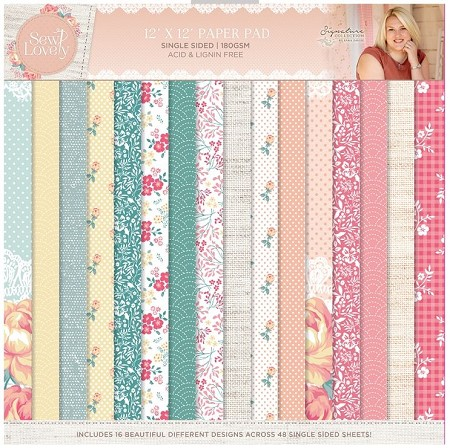 "Crafter's Companion - Sew Lovely Collection by Sara Davies - 12""x12"" Paper Pad"