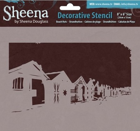 "Sheena - Decorative Stencil - Beach Huts (8""x6"")"